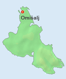 Omisalj on the map of Krk.