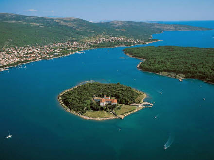 Island Kosljun in Punat bay on Krk Island