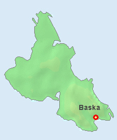 Baska on the map of Krk Island.