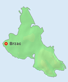 Brzac on the map of Krk.