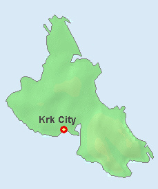 Krk City on the map of Krk.