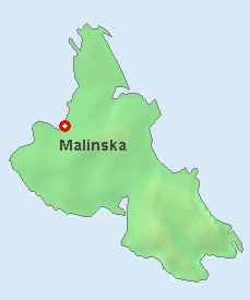 Malinska on the map of Krk.